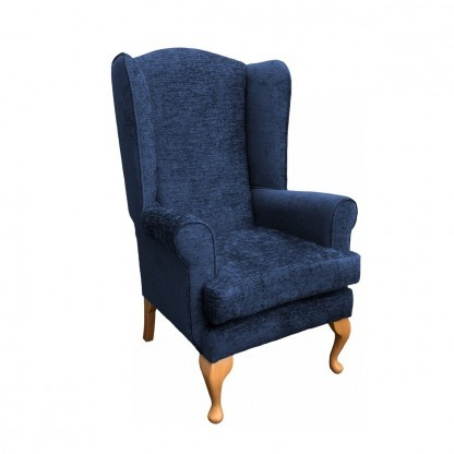 Queen Anne extra high back chair side view in midnight