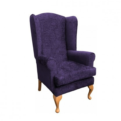 Queen Anne extra high back chair side view in purple