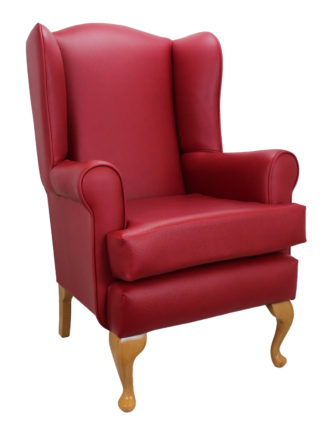 Queen Anne Red Faux Leather Orthopedic Chair