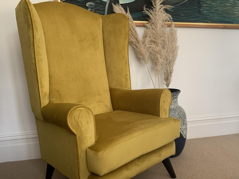 yellow velvet high seat chair